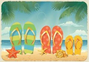 Värikkäässä piirroksessa rantahiekalla on loman loppumisen merkiksi upotettu kolmet sandaalit hiekkaan. Pari meritähteä näkyy myös.