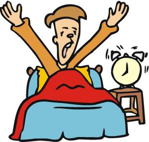 Riemunkirjava piirros vuoteessa istuvasta, käsiään venyttelevästä miehestä, jonka kello herätti 8:lta.