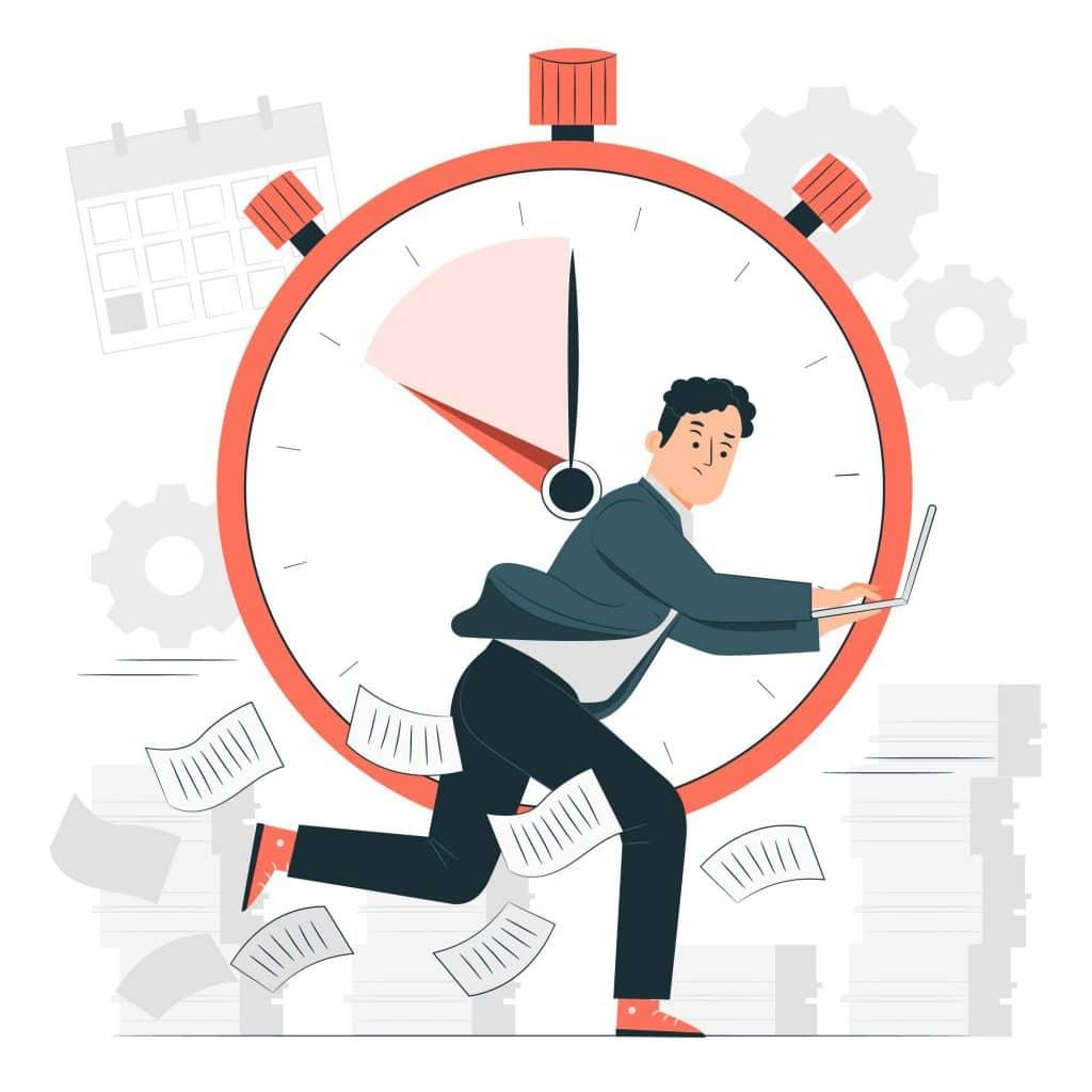 Piirroskuvassa henkilö juoksee ajanottokello taustanaan kiireestä toiseen.