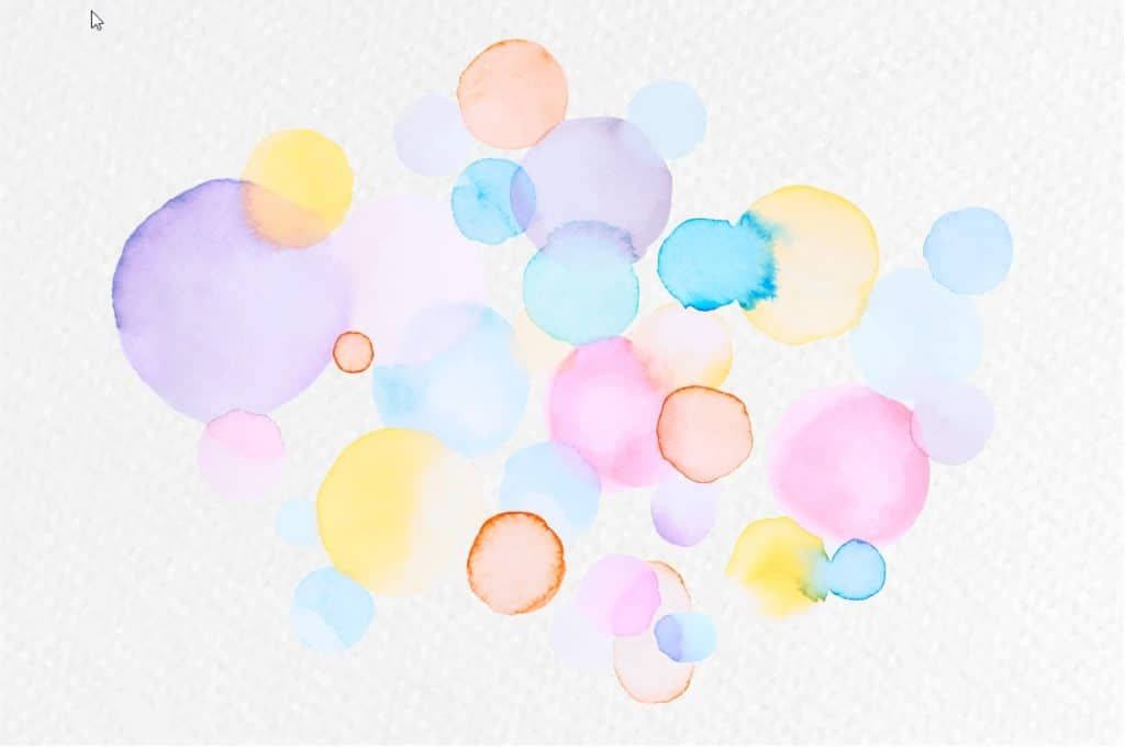 Abstrakti vesivärimaalaus. Parikymmentä eriväristä ympyrämäistä kuviota liittyy toisiinsa, ja alkuperäiset värit sekoittuvat. Muodot ja värit muuttuvat epätarkoiksi.